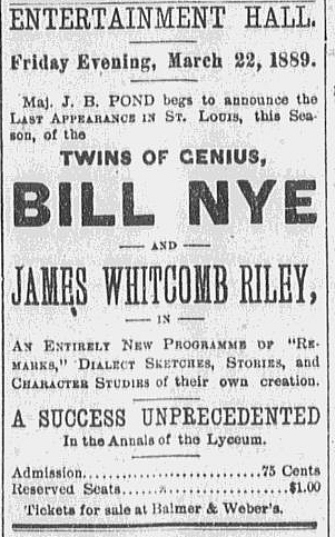 Newspaper ad 1889