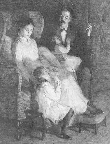Clemens with Livy and his daughters